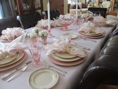 """Vintage Pink Table featuring Mikasa """"La Rose"""" and pink Depression glass"""