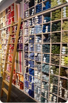 Wool Shop, Yarn Shop, Knitting Room, Knitting Yarn, Yarn Storage, Craft Storage, Mercerie Paris, Yarn Display, Yarn Stash