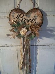 Shabby cottage Paris heart wall decor tattered by AnitaSperoDesign, $28.00