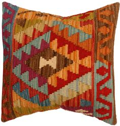 Handmade kilim cushion cover 48x48cm,P #338 by WitcheryRugs on Etsy