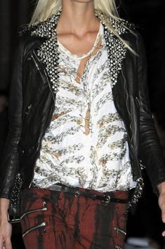 Balmain Studded leather, zip jeans and safety pin tee - love the t and jeans! -