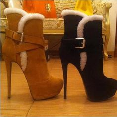 Elegant Suede Stiletto Heel Boots With Buckle