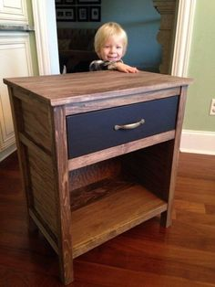 Easy step-by-step DIY woodworking plans with detailed pictures that show you how to build a beautiful night stand with a drawer.