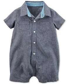 Carter's Baby Boys' Chambray Button-Front Romper - Kids & Baby - Macy's
