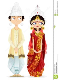 Illustration about Easy to edit vector illustration of Bengali wedding couple. Illustration of female, element, culture - 30667901 couple anime Bengali Wedding Couple stock vector. Illustration of ceremony - 30667901 Bengali Culture, Bengali Art, Bengali Bride, Bengali Wedding, Indian Wedding Cards, Indian Wedding Invitations, Indian Illustration, Wedding Illustration, Couple Illustration