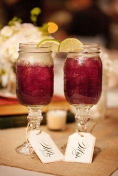redneck wine glasses (mason jars glued to candle sticks)