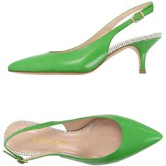 Aldo Castagna Court ($130) ❤ liked on Polyvore featuring shoes, pumps, green, green pumps, green leather shoes, leather slingbacks, buckle shoes and sling back pumps