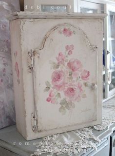 My Shabby Vintage Roses Cabinet is available at www.debicoules.com