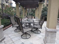 7pc Swivel Sling Patio Furniture Set with Cover