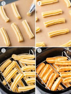 Air Fryer Churros fried to golden perfection make a delicious dessert for your next Mexican-themed party! Freshly baked and coated with cinnamon-sugar this easy Air Fryer dessert is a lot easier to make at home than you think. Air Fryer Oven Recipes, Air Frier Recipes, Air Fryer Dinner Recipes, Easy Churros Recipe, Air Fryer Fish, Honey Recipes, Happy Foods, Sweet Chili, Delicious Desserts