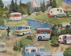 Vintage Trailers 3 yds Glamping CAMPING quilting fabric retro Elizabeth's Studio sewing shasta caravan camper 3 full yards 3502 Green
