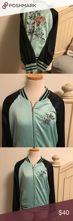 Torrid Little mermaid bomber jacket Sz Large L Beautiful Ariel Bomber jacket! Great addition to your wardrobe! In very good condition, with minimal wear due to previous usage. torrid Jackets & Coats