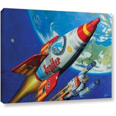 ArtWall Eric Joyner Spacepatrol2 inch Gallery-Wrapped Canvas, Size: 18 x 24, Red