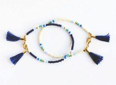 Beaded Friendship Bracelet Navy Cobalt Teal by feltlikepaper