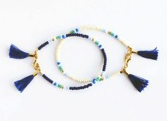 Beaded Friendship Bracelet Navy Cobalt Teal by feltlikepaper