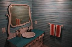 antique dresser sink, repurposed dresser, vintage sink, antique bathroom, faux bathroom walls, turquoise bathroom, enamelware pan sink, The Barn at High Point Farms