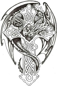 Watercolor tattoo – Dragon Lord Celtic by TheLob on deviantART Bestes Aquarell Tattoo – Dragon Lord Celtic von TheLob auf deviantART Celtic Fantasy Art, Celtic Art, Celtic Crosses, Celtic Dragon Tattoos, Dragon Tattoo Designs, Tattoo Celtic, Cross Tattoos, Celtic Patterns, Celtic Designs