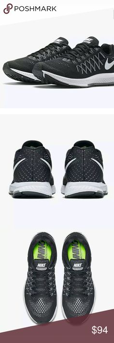NEW Nike Air Zoom Pegasus 32 Men's Running Shoes NEW Nike Air Zoom Pegasus 32 Men's Running Shoes BLACK Size 12.5 M Mesh Imported Rubber sole One-piece engineered mesh upper Flywire cables for support Heel Zoom Air unit nike Shoes Athletic Shoes
