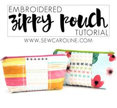 Learn to make an adorable zippy pouch using unique stitches from the Janome Skyline Needed: 1 Fat quarter of. Sewing Hacks, Sewing Tutorials, Sewing Crafts, Sewing Projects, Sewing Patterns Free, Free Sewing, Bag Patterns, Thread Organization, Sew Wallet