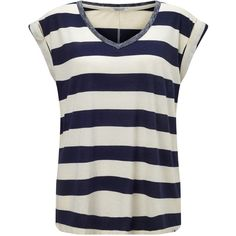 Maison Scotch Burnout Stripe T-Shirt, Navy/Ecru (265 BRL) ❤ liked on Polyvore featuring tops, t-shirts, navy blue tops, blue striped t shirt, navy t shirt, blue t shirt and striped t shirt