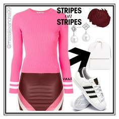 """Pink and Red Stripes on Stripes Outfit"" by missalexandria99 ❤ liked on Polyvore featuring Chelsea28, Valentino, adidas, Blue Nile, stripesonstripes and PatternChallenge"