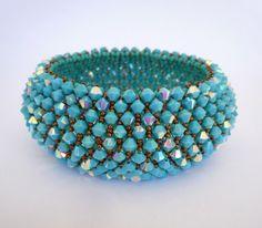 Turquoise  Swarovski bracelet - Beadwoven  Bracelet - Holiday Party Jewelry - Wedding Jewelry - Capricho