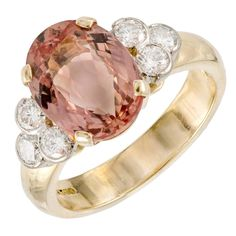 Natural Pinkish Orange Precious Topaz Diamond Gold Ring