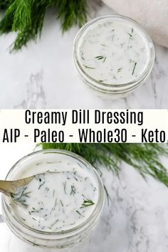 This creamy dill dressing is so simple to make and is fantastic on salads. Plus it's #dairyfree, #paleo, #whole30, and totally #AIP compliant! Allergy Free Recipes, Paleo Recipes, Real Food Recipes, Sauce Recipes, Paleo Dressing, Cucumber Dressing, Steamed Sweet Potato, Salad With Sweet Potato, Recipe With 10 Ingredients