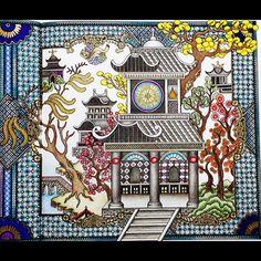 The Time Chamber next page  Blue Willow Pattern〜ブルー・ウィロー・パターン〜右側 COLORIAGES vol.105 2016.4.18. color by takumi.nakagawa 熊本城 再建させました Kumamoto Castle is a reconstruction  多分、タイムチャンバーの本の中では、黄金塔の絵だと思いますが、敢えてここは熊本城のイメージで塗ってみました  お城が黒なので、周りの樹木は色とりどりにしました 名産品の晩白柚(ばんぺいゆ)-ザボン- 松・紅白の梅・柿・桜のつもりです☺️ 画材は、ほぼ色鉛筆のみ  #コロリアージュ#おとなのぬりえ#大人の塗り絵#時の部屋#ダリアソン  #COLORIAGES #coloriage #thetimechamber #dariasong #adultcoloring #adultcoloringbook #塗り絵で被災地を励ましたい