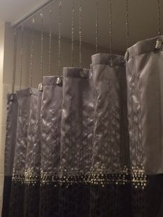 Shower Curtain Ideas Suspended With Ceiling Mounted Track Chains Green Curtains