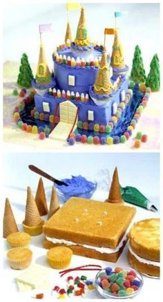 Schloss Kuchen Tutorial Schloss Kuchen Castle Birthday Cake - Blue Candy castle cake for several kids with September birthdays at a local shelter cinderella castle cake Beautiful Cakes, Amazing Cakes, Castle Birthday Cakes, Princess Birthday Cakes, Kale Pasta, Crazy Cakes, Partys, Cute Cakes, Creative Cakes