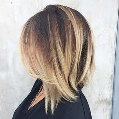 Shoulder Length Bob Haircut with Blonde Balayage Highlights