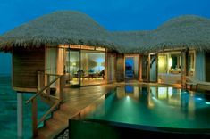 Beautiful Luxury Retreats in Beach Resort : Thatched Roof Cottages Outdoor Staircase Precious Pool Lights Black Pool Caping Constance Halaveli Resort Maldives All Inclusive, Maldives Resort, Beach Resorts, Luxury Resorts, Promotion Hotel, Maldives Bungalow, Hotel Istanbul, Low Cost, Maldives Holidays