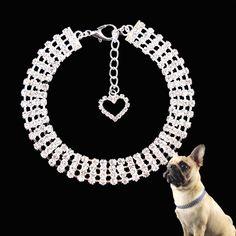 Rhinestones Pet Dog Collar  Price: 10.95 & FREE Shipping  #panties Necklace Price, Love Necklace, Collar Necklace, Pearl Necklace, Collar And Leash, Pet Collars, Pet Dogs, Dog Cat, Dog Shop