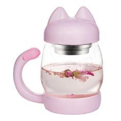 HUAYF Cute Cat Glass Tea Cup with a Lid & Strainer,Portable Cat Tail Heat Resistant Cups ,Free with a Coasters - Heat Resistant Mugs Gift Glass Tea Cups, Cat Accessories, Kawaii, Cat Mug, Coffee Is Life, Cat Gifts, Tea Mugs, Drinking Tea, Drinkware
