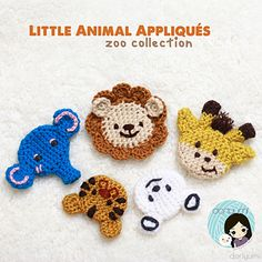 These Little Animal Appliqués can be made flat or 3D! They are worked in the round similar to the form of amigurumi and can be stuffed for a 3D effect or flattened as a regular appliqué.
