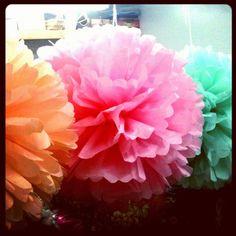 handmade pom poms for our new spring window display #mojospa