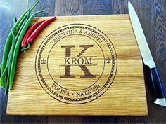 Our personalized cutting boards are eco friendly gift for weddings, wedding shower, birthdays, house-warming, company or just because! It is great gift for family and friends and also it is a great gift for yourself. DESCRIPTION: Cutting boards are handmade from natural hard wood (oak, beech or... see more details at https://bestselleroutlets.com/home-kitchen/kitchen-dining/cutlery-knife-accessories/cutting-boards/product-review-for-personalized-cutting-board-monogram-with-fa