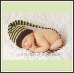 FEATURED WWW PARENTS COM - Custom Knit - Funky Newborn Munchkins Hat  -  Stocking Cap  - Chocolate Brown with Pistachio Honeydew green stripes - long cord and tassle