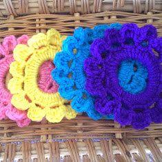 Crochet ponytail holders, hair scrunchies, hair accessories, hair ties by SweetpeaNmeCreations on Etsy