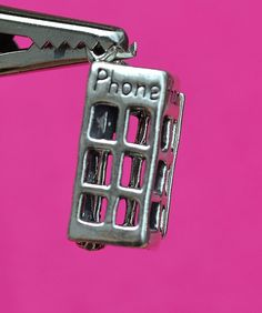 Brand New, Sterling Silver, 3D Movable English Telephone Booth, Charm / Pendant #CharmPendant