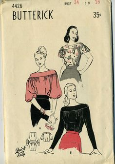 Vintage 50s Butterick 4426 Misses Feminine Fancy Yoked Blouse with Boat Neckline Sewing Pattern Size 16 Bust 34  This soft blouse has such a