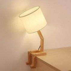 HAITRAL Wooden Table Lamp Adjustable Creative Nightstand Lamp for Bedroom Office Kids. Modern Style: The shape of this bedroom lamp is similar to a man, elegant and fun. It has transformable modeling, Easy to assemble and store Wooden Desk Lamp, Wooden Tables, Wooden Decor, Wooden Lamp Base, Table Lamp Wood, Bed Table, Bedroom Lamps, Bedroom Office, Office Lamp