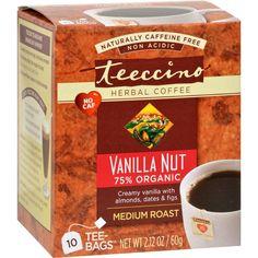 Teeccino Herbal Coffee Vanilla Nut - 10 Tea Bags - Case of 6