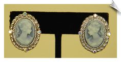 Vintage Style Silvertone Blue Cameo Clip On Earrings Accented with Rhinestones