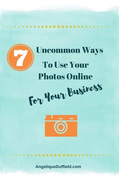 7 uncommon ways to use your photos online for your business [blog post + video + infographic]. From webinars to speaker's one sheets, Facebook cover photos to Instagram feeds, you'll discover some unique ways to use photos you take and photos of you to define your brand, make you memorable, and share more of the fun side of you online for your business.