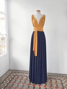 Mustard long dress mustard and navy long dress by mimetik on EtsyGo for a two-toned infinity dress for your bridesmaids with the color palette of your wedding. You can choose any combination of colors