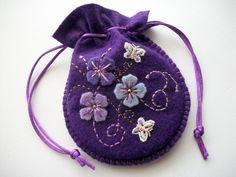 Purple Jewelry Bag Felt Gift Bag ♡