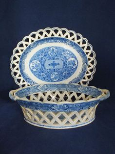 Early 19th C English Pearlware Pierced Chestnut Basket AND Stand | eBay This is in the net pattern, made by Spode, Ridgway and Herculaneum + others. It is based on a Chinese design which although lovely is not as popular as some others hence the smaller sale price.