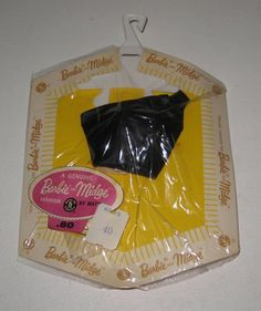 1963 Mattel Barbie Black Satin Blouse & Stud Earrings Pak MOC NRFB #BI24